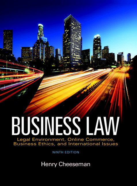 Solution Manual (Complete Download) for Business Law: Legal Environment, Online Commerce, Business Ethics, and International Issues, 9th Edition, Henry R. Cheeseman, ISBN-10: 0134004000, ISBN-13: 9780134004730, ISBN13: 9780134004006, Instantly Downloadable Solution Manual, Complete (ALL CHAPTERS) Solution Manual