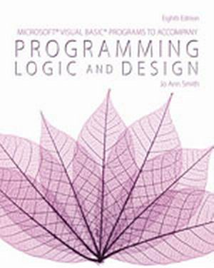 Solution Manual (Complete Download) for Microsoft® Visual Basic Programs to Accompany Programming Logic and Design, 8th Edition, Jo Ann Smith, ISBN-10: 1285867394, ISBN-13: 9781285867397, Instantly Downloadable Solution Manual, Complete (ALL CHAPTERS) Solution Manual