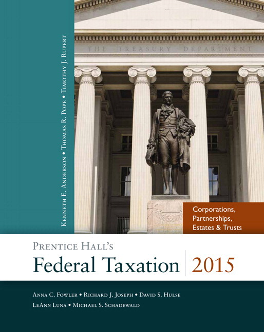 Solution Manual (Complete Download) for Prentice Hall's Federal Taxation 2015 Corporations, Partnerships, Estates & Trusts, 28/E, Thomas R. Pope, Timothy J. Rupert, Kenneth E. Anderson, ISBN-10: 0133822141, ISBN-13: 9780133822144, ISBN-10: 0133807150, ISBN-13: 9780133807158, ISBN-10: 013380660X, ISBN-13: 9780133806601, Instantly Downloadable Solution Manual, Complete (ALL CHAPTERS) Solution Manual