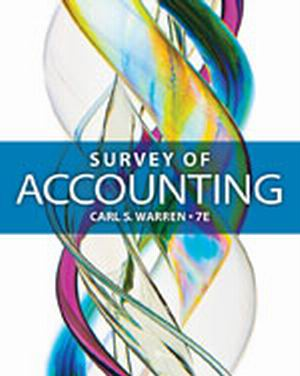 Solution Manual (Complete Download) for Survey of Accounting, 7th Edition, Carl S. Warren, ISBN-10: 1285183487, ISBN-13: 9781285183480, Instantly Downloadable Solution Manual, Complete (ALL CHAPTERS) Solution Manual